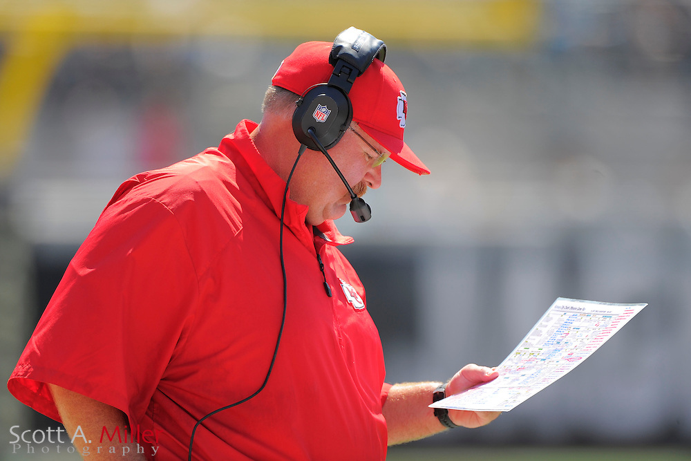 Kansas City Chiefs head coach Andy Reid during the Chiefs 28-2 win over the Jacksonville Jaguars at EverBank Field on Sept. 8, 2013 in Jacksonville, Florida. The <br /> <br /> &copy;2013 Scott A. Miller
