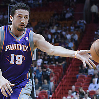 17 November 2010: Phoenix Suns' small forward #19 Hedo Turkoglu passes the ball during the Miami Heat 123-96 victory over the Phoenix Suns at the AmericanAirlines Arena, Miami, Florida, USA.