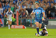 PRETORIA, South Africa, 14 May 2011. Wynand Olivier of the Bulls goes over for his second try during the Super15 Rugby match between the Bulls and the Melbourne Rebels at Loftus Versfeld in Pretoria, South Africa on 14 May 2011..Photographer : Anton de Villiers / SPORTZPICS