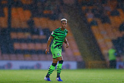 Forest Green Rovers Junior Mondal(25) in the pouring rain  during the EFL Sky Bet League 2 match between Port Vale and Forest Green Rovers at Vale Park, Burslem, England on 20 August 2019.