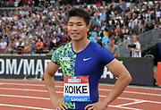 Jul 20, 2019; London, United Kingdom; Yuki Koike (JPN) poses after placing fourth in the 100m in 9.97 during the London Anniversary Games at London Stadium at  Queen Elizabeth Olympic Park.