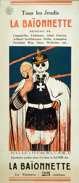 La Baionnette' Every Thursday. Periodical mainly for French frontline soldiers in World War I. Skelton in German uniform showing what is  behind the Kaiser's mask. Illustration by Paul Iribe (1883-1935) French artist and designer.
