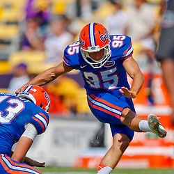Oct 12, 2013; Baton Rouge, LA, USA; Florida Gators kicker Francisco Velez (95) prior to a game against the LSU Tigers at Tiger Stadium. Mandatory Credit: Derick E. Hingle-USA TODAY Sports
