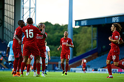 BLACKBURN, ENGLAND - Thursday, July 19, 2018: Liverpool's captain Daniel Sturridge celebrates scoring the second goal with Naby Keita and Rafael Camacho during a preseason friendly match between Blackburn Rovers FC and Liverpool FC at Ewood Park. (Pic by Paul Greenwood/Propaganda)