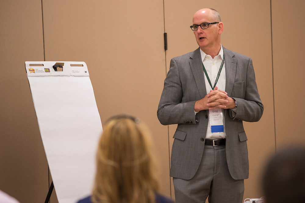 Greg Moran, the senior vice president and CIO of Infrastructure and Operations at Nationwide Mutual Insurance, talks during a breakout session as part of the College of Business Center for Leadership Event in Baker Center on April 24, 2016.
