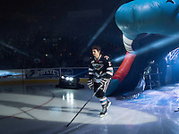 KELOWNA, CANADA - SEPTEMBER 25: Cal Foote #25 of Kelowna Rockets enters the ice during the season home opener against the Kamloops Blazers on September 25, 2015 at Prospera Place in Kelowna, British Columbia, Canada.  (Photo by Marissa Baecker/Shoot the Breeze)  *** Local Caption *** Cal Foote;