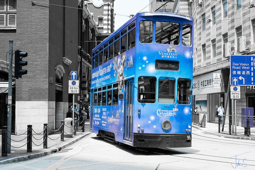 tram, blue, street, building, hong kong, bollard