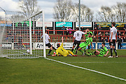 Forest Green's Kurtis Guthrie stabs home his teams 2nd goal just before half time during the Vanarama National League match between Bromley FC and Forest Green Rovers at Hayes Lane, Bromley, United Kingdom on 28 March 2016. Photo by Shane Healey.