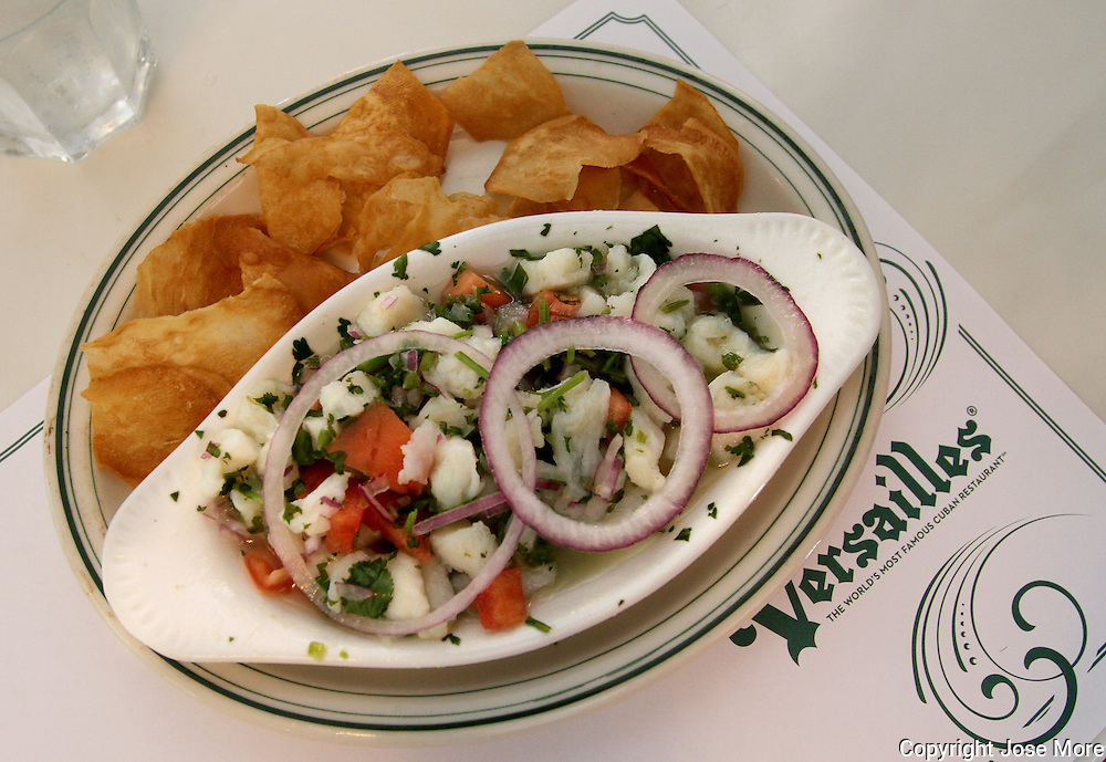 Cuban style ceviche at Versailles Restaurant a cafeteria, restaurant, and bakery, and a landmark eating establishment located on Calle Ocho (8th St) in Little Havana, Miami.<br /> Photography by Jose More