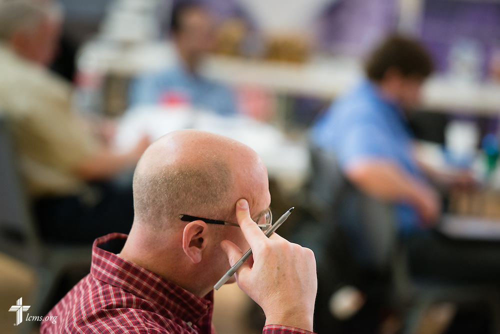 The Rev. Mike Peters listens during the 2015 Operation Barnabas Conference on Monday, Feb. 9, 2015, at Mount Calvary Lutheran Church in San Antonio, Texas.  LCMS Communications/Erik M. Lunsford