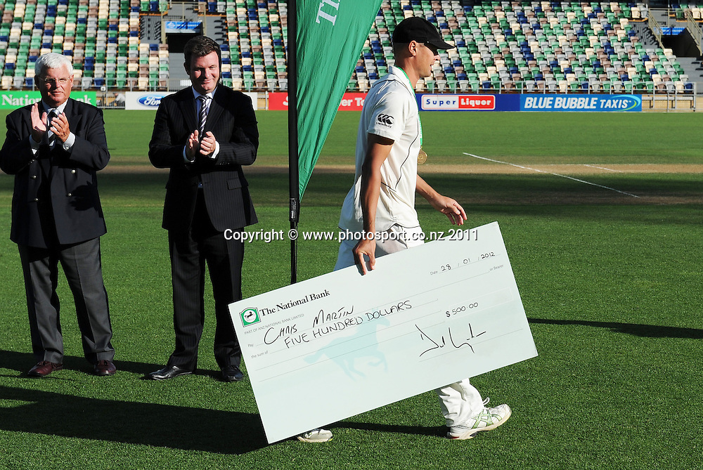 New Zealand bowler Chris Martin, man of the match on day 3 of the first cricket test, New Zealand v Zimbabwe at McLean Park. Saturday 28 January 2012. Napier, New Zealand. Photo: Andrew Cornaga/Photosport.co.nz