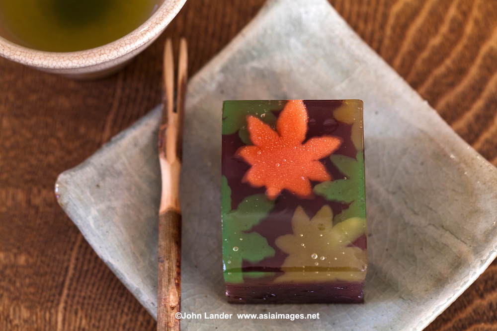 Yokan is a Japanese jellied dessert made of red bean paste and sugar. It is usually sold in a block form and eaten in slices. Yokan also contain chopped chestnuts, persimmons, figs, sweet potato among other seasonal additions.