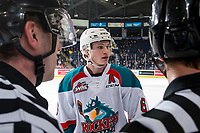 KELOWNA, BC - FEBRUARY 16:  Kaedan Korczak #6 of the Kelowna Rockets stands at the bench during a time out against the Vancouver Giants at Prospera Place on February 16, 2019 in Kelowna, Canada. (Photo by Marissa Baecker/Getty Images)