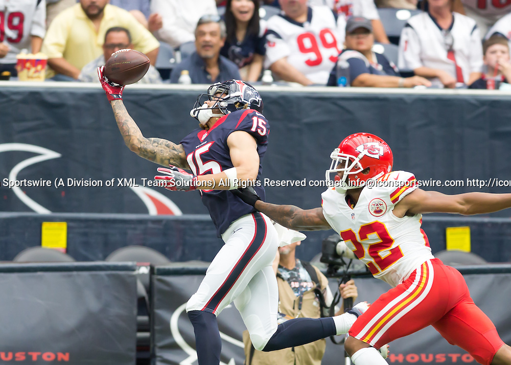 18 September, 2016:  Kansas City Chiefs cornerback Marcus Peters (22) attempts to tackles Houston Texans wide receiver Will Fuller (15) as he reaches for a catch during the NFL game between the Kansas City Chiefs and Houston Texans at NRG Stadium in Houston, Texas.  (Photograph by Leslie Plaza Johnson/Icon Sportswire)