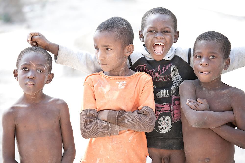 Boys pose for a picture on Ile de La Gonave, Haiti
