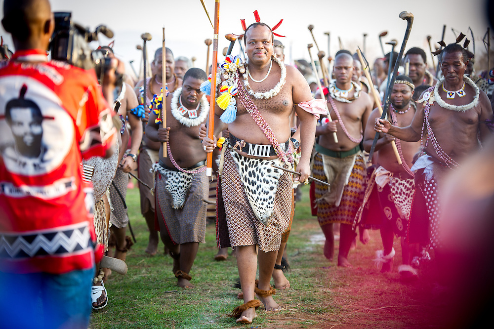 Ludzidzini, Swaziland, Africa -  King Mswati III, of Swaziland at the the annual  Umhlanga, or reed dance ceremony. Mswati III is Africa's last absolute monarch