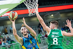 Ivan Marinkovic  of KK Sixt Primorska and Edo Muric of KK Cedevita Olimpija during basketball match between KK Cedevita Olimpija and KK Sixt Primorska in Round #17 of ABA League 2019/20, on January 26, 2020 in Arena Stozice, Ljubljana, Slovenia. Photo By Grega Valancic / Sportida
