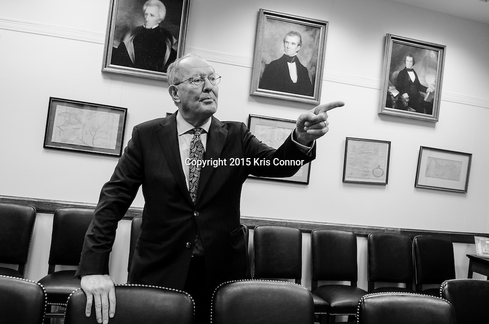 Senator Lamar Alexander(R-TN) gives a tour of his Washington DC senate office and shows the art and photos that line the walls in the Dirksen Senate Office Building in Washington DC on December 7, 2015. Photo by Kris Connor