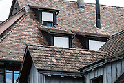 Tile roof pattern. Stein am Rhein has a well-preserved medieval center in Schaffhausen Canton, Switzerland, Europe.