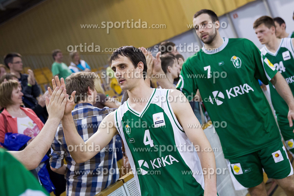 Domen Lorbek of Krka after the basketball match between KK Union Olimpija and KK Krka in 10th Round of Telemach League 2012/2013, on April 30, 2013, in Hala Tivoli, Ljubljana, Slovenia. (Photo By Vid Ponikvar / Sportida.com)