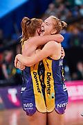 Sunshine Coast Lightning players celebrate winning the final.<br /> PERTH, AUSTRALIA - AUGUST 26: West Coast Fever vs the Sunshine Coast Lightning during the Suncorp Super Netball Grand Final match from Perth Arena - Sunday 26th August 2018 in Perth, Australia. (Photo by Daniel Carson/dcimages.org/Netball WA)