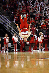 26 January 2016: Backflips from a Redbird cheerleader during the Illinois State Redbirds v Drake Bulldogs at Redbird Arena in Normal Illinois (Photo by Alan Look)