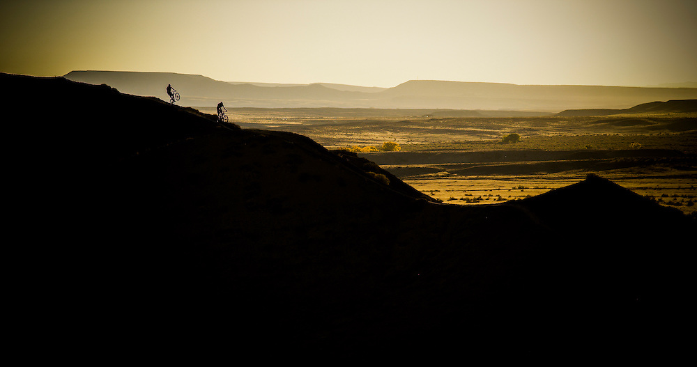 Rene Wildhaber and Ross Schnell ride their bike during the Red Bull Buffalo Soldier Mountain Bike Trip in USA at Fruita  (Colorado), on October 18th 2012.