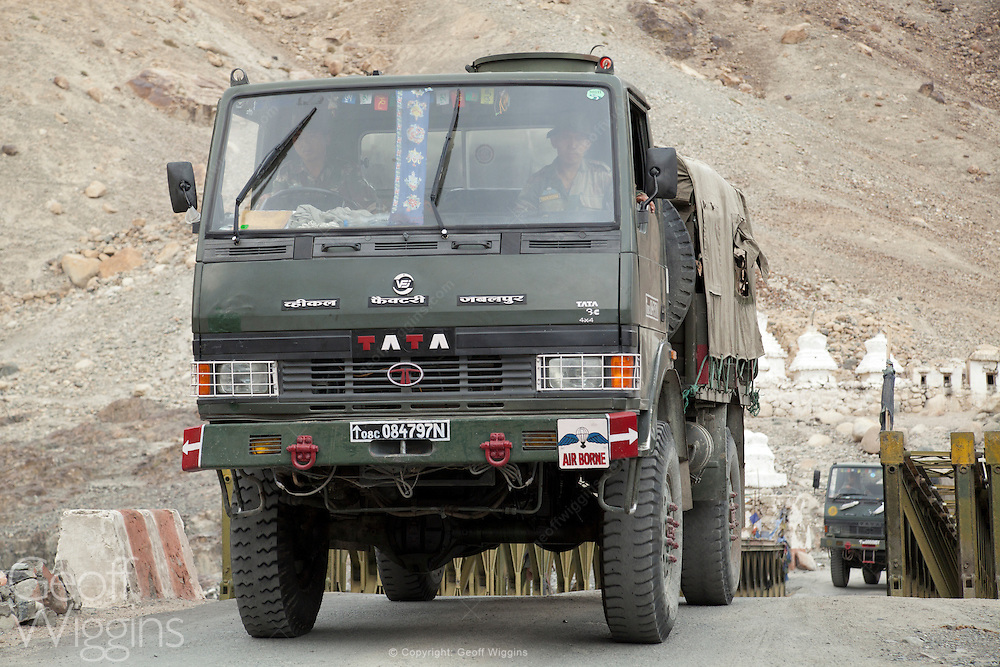 Indian airborne forces army convoy passes Buddhist stupas at Hunder, Kargil - Leh highway close to the 'Line of Control' (the de facto border) between India and Pakistan, India