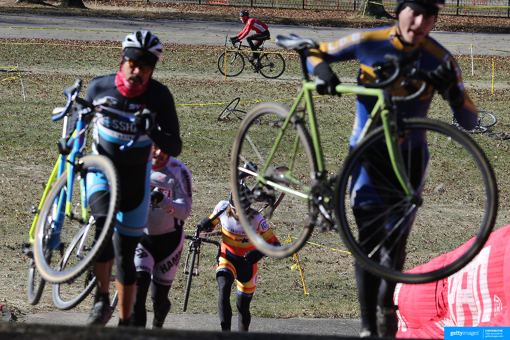 Competitors tackle the stairway during the Cyclo-Cross, Supercross Cup 2013 UCI Weekend at the Anthony Wayne Recreation Area, Stony Point, New York. USA. 24th November 2013. Photo Tim Clayton