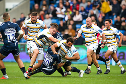 Marco Mama of Worcester Warriors is tackled by AJ MacGinty of Sale Sharks - Mandatory by-line: Robbie Stephenson/JMP - 09/09/2018 - RUGBY - AJ Bell Stadium - Manchester, England - Sale Sharks v Worcester Warriors - Gallagher Premiership