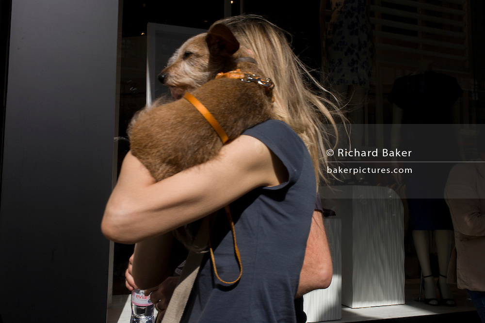 A pet dog held on the shoulder of its owner in a busy London street.