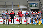 Catalan Dragons warm up during the Betfred Super League match between Salford Red Devils and Catalan Dragons at the AJ Bell Stadium, Eccles, United Kingdom on 30 March 2018. Picture by George Franks.