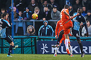 Jonathan Smith of Luton Town scores his team's first goal against Wycombe Wanderers to make it 1-1 during the Sky Bet League 2 match at Adams Park, High Wycombe<br /> Picture by David Horn/Focus Images Ltd +44 7545 970036<br /> 26/12/2014