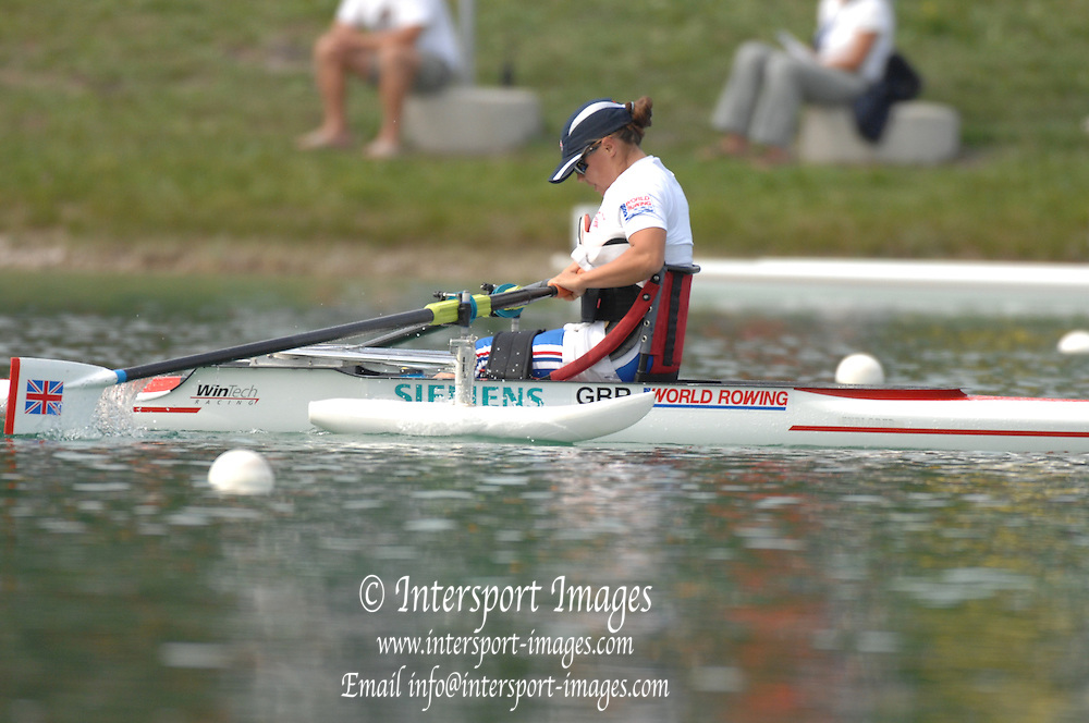 Munich, GERMANY, 28.08.2007, Adaptive rowing GBR AW1X, Helene RAYNSFORD,  Third day, at the 2007 World Rowing Championships, taking place on the   Munich Olympic Regatta Course, Bavaria. [Mandatory Credit. Peter Spurrier/Intersport Images]..... , Rowing Course, Olympic Regatta Rowing Course, Munich, GERMANY