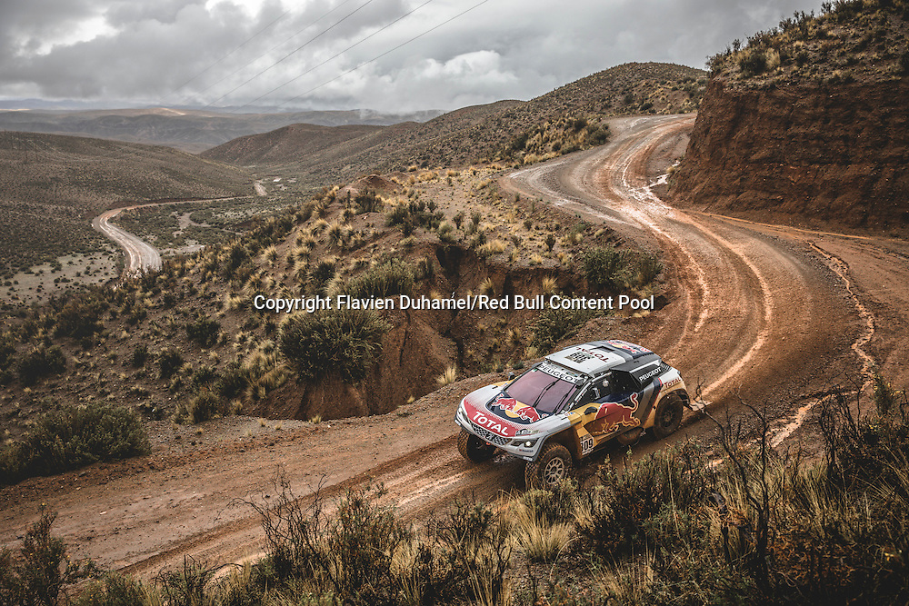 Sebastien Loeb (FRA) of Team Peugeot TOTAL races during stage 5 of Rally Dakar 2017 from Tupiza to Oruro, Bolivia on January 6, 2017. // Flavien Duhamel/Red Bull Content Pool // P-20170106-00176 // Usage for editorial use only // Please go to www.redbullcontentpool.com for further information. //