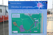 Map of work in progress, Greater Gabbard off shore windfarm on shore sub station facility, Sizewell, Suffolk, England