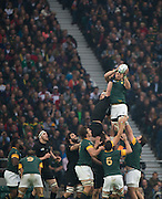 Twickenham. Great Britain, No.8's contest the line out ball, Right, Duane VERMEULEN  [winning the ball] and Kieran READ , jump,  during, Semi Final . South Africa vs New Zealand  2015 Rugby World Cup,  Venue, Twickenham Stadium, Surrey England.   Saturday  24/10/2015.   [Mandatory Credit; Peter Spurrier/Intersport-images]
