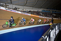 © Licensed to London News Pictures. 19/02/2011. Sir Chris Hoy competes for Team Sky in the Men's Kerin (2nd Round). Hoy won the second round with a good margin. UCI Track Cycling World Cup, Manchesterr this evening (19/02/2011). Photo credit should read: Reuben Tabner/LNP