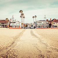 Retro Newport Beach panorama at 11th Street and Balboa Blvd on Balboa Peninsula. Panoramic photo ratio is 1:3 and image has a vintage nostalgic 1960s tone. Newport Beach is an affluent coastal city in Orange County Southern California.