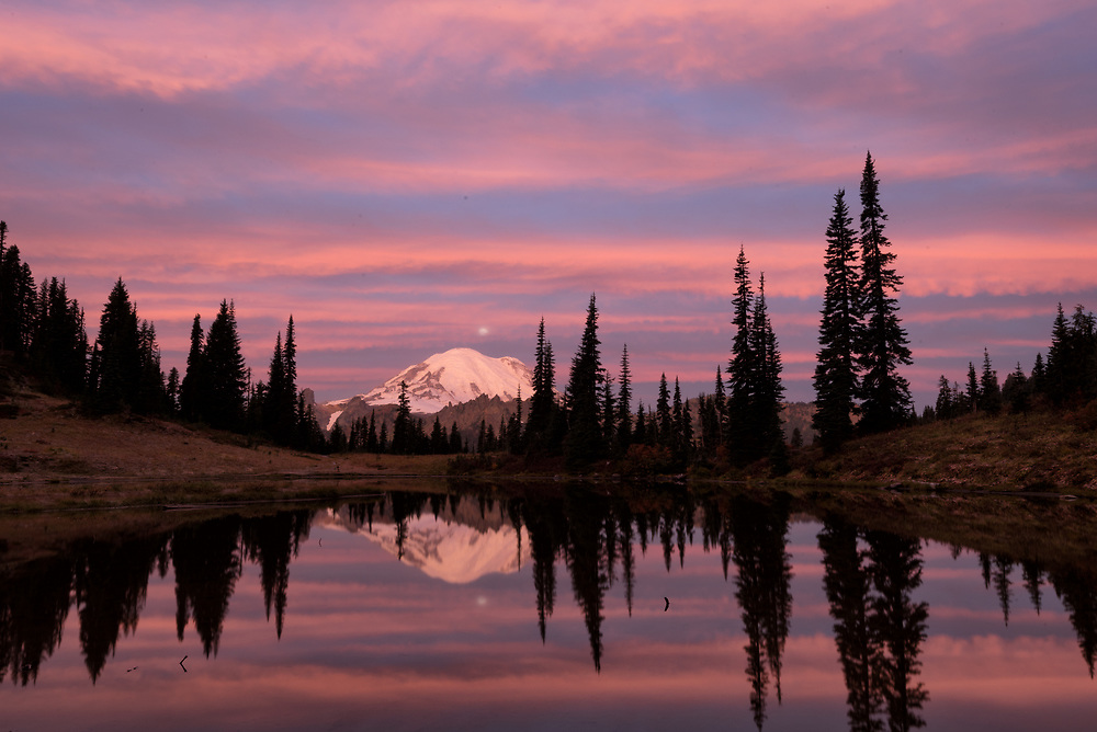 Full Moon, Morning Sky, Setting Moon, Mt. Rainier, First Light, Dawn, reflection