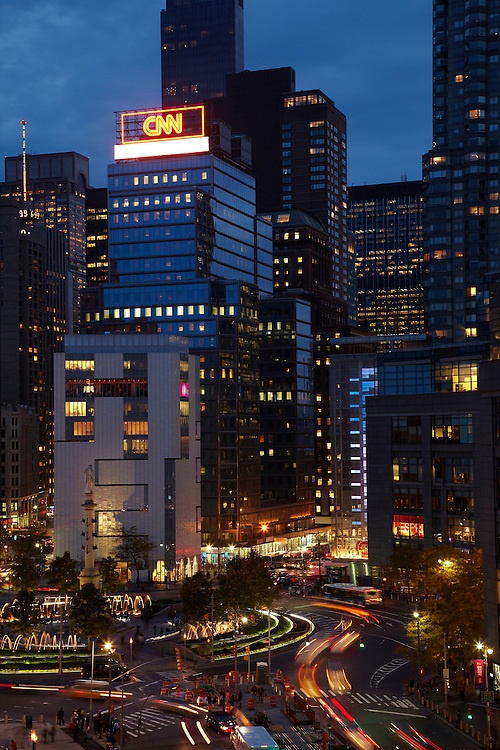 Night view of Columbus Circle from 15 Central Park West, 9th floor