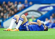 Diego Costa of Chelsea takes a knock during the FA Cup match at Stamford Bridge, London<br /> Picture by Alan Stanford/Focus Images Ltd +44 7915 056117<br /> 21/02/2016