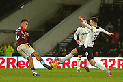 Aston Villa midfielder Jack Grealish (10) andDerby County forward Tom Lawrence (10) during the EFL Sky Bet Championship match between Derby County and Aston Villa at the Pride Park, Derby, England on 10 November 2018.