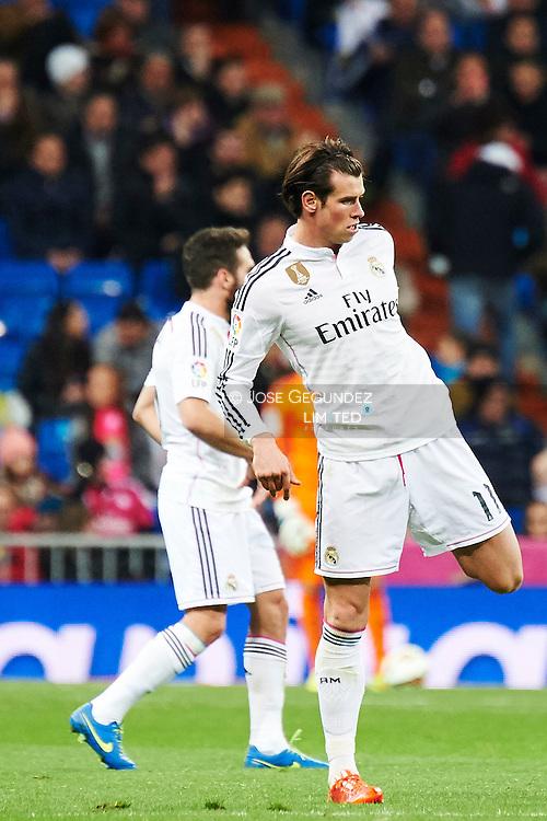 Gareth Bale (Real Madrid F.C.) action during Real Madrid v Levante CF, La Liga football match at Santiago Bernabeu on March 15, 2015 in Madrid
