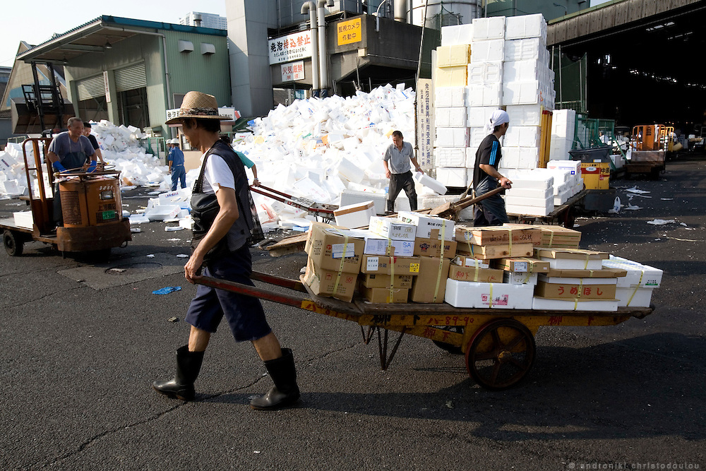 Transfer of purchased fish to the buyers' trucks. Tsukiji fish market  is the biggest wholesale fish and seafood market in the world and also one of the largest wholesale food markets of any kind. The market is located in Tsukiji in central Tokyo, and is a major attraction for foreign visitors.