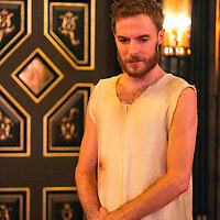 The Inn at Lydda by WOLFSON ;<br /> Directed by Andy Jordan ;<br /> Samuel Collings (as Jesus) ;<br /> Sam Wanamaker Playhouse, Globe Theatre ;<br /> 6 September 2016 ;<br /> Credit: Pete Jones/ArenaPal ;<br /> www.arenapal.com