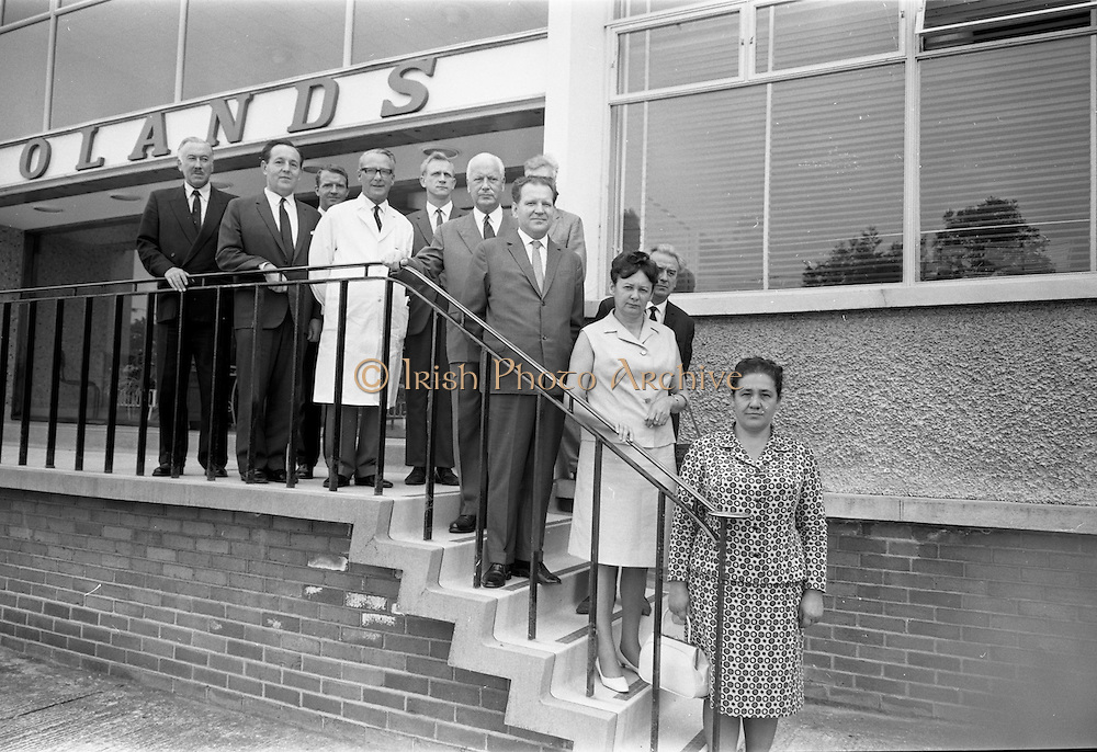 13/07/1967<br /> 07/13/1967<br /> 13 July 1967<br /> Russian (Soviet) Trade Group visit Bolands Biscuit Factory, Deansgrange, Dublin. The Soviet group included: Mr S.I. Brovkin, Deputy Minister, Ministry of Food, U.S.S.R.; Mr V.I. Churiov, Moscow Interpreter;  Mrs A.E. Glouv, Director of Department, Ukrainian Baking Industry; Mrs M.N. Isthmina, Director, All Union Institute Baking Industry and Mr N.V. Karyshensky, Deputy Chief Engineer, Bolshevik Biscuit Co., accompanied by Mr F.H. Arscott, Deputy Managing Director, Baker Perkins (Exports) Ltd. and Mr. Sloan (British Interpreter). The tour had been arranged by Baker Perkins Ltd. of Peterborough who made much of the machinery in Bollards Factory. The visit was connected with the latest Soviet Five-Year Plan, which intended to make a variety of foods available to the Russian consumer.