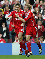 Photo: Paul Thomas.<br /> Liverpool v Arsenal. The FA Barclays Premiership. 28/10/2007.<br /> <br /> Steven Gerrard is congratulated by Dirk Kuyt (R) after scoring for Liverpool.
