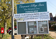 Save Our Sandlings protest banner in village of Thorpeness, Suffolk, England, UK