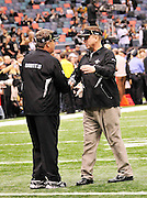 "File-Greg Williams, Defensive Coordiantor for the New Orleans Saintshas been suspended indefiently from the NFL  because of his ""bounty system"" he had in place while coaching for the Saints during the 2009,2010 & 2011 NFL seasons. Coach Sean Payton was suspended for one year and General manager Micky Lookis was suspended for 8 games for thier roles in the ""Bounty scandal"". File Photo of Defensive coach Greg Willams and coach Sean Payton shake hands before the Saints pre season game against the San Diego Chargers Friday Aug 27,2010. The San Diego charges cut Drew Brees a few years ago, allowing him to be picked uop by the Saints as a free agent. The Saints won 36-21 at half time.Photo© Suzi Altman"